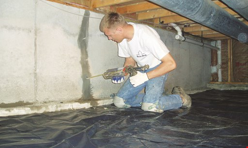 Product image for Accu-Dry $100 Off concrete crawlspace or basement waterproofing.