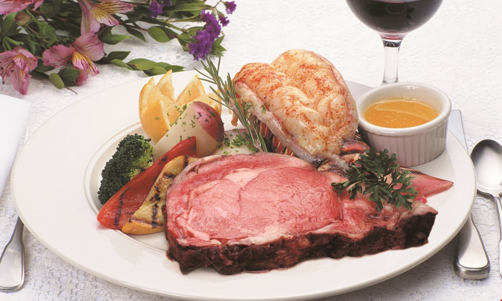 Product image for Delmonico's Steak and Lobster House 50% Off any entree buy 1 entree, get 2nd of equal or lesser value 50% off.can be used for lunch or dinner