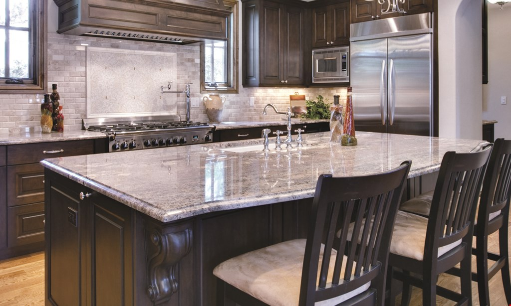 Product image for Granite Discounter $3250 Gold Package. Level A quartz up to 40 sq. ft. Removal and disposal of old countertops. Plumbing and re-hook up. Premium stainless steel faucet and sink. Eased edge.