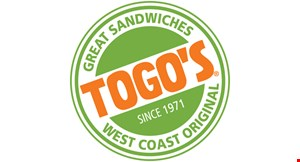 """Product image for Togo's $1 off any regular 6"""" sandwich OR $2 off any large 9"""" sandwich."""