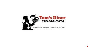Product image for Tom's Diner early bird specials $7.99 Served Mon.-Fri. 7am to 9am  - 1 waffle, 2 eggs, 2 sausage links, & coffee - 2 pancakes or 2 french toast, 2 eggs, ham & coffee - 2 eggs, ham, home fries, toast, & coffee.