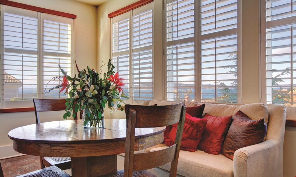 "Product image for The Blind Spot CORDLESS 2"" FAUX WOOD BLINDS $85 (up to 32"" wide x 48"" long)."