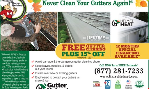 Product image for Gutter Helmet 18% off Gutter Helmet and Permanent Gutter Protection from $21.20/mo.