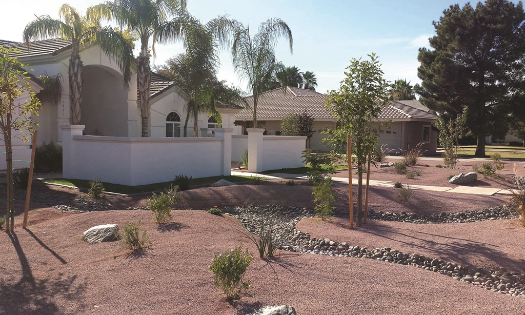 Product image for Refined Custom Landscape Construction LLC $2999.00 starter pack. Complete irrigation with timer. (10) tons of rock (except Santa Fe colors), (3) 15 gallon trees, (10) 5 gallon bushes, ground cover.