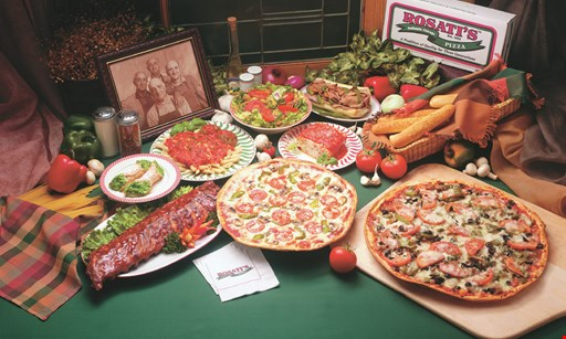 Product image for Rosati's Pizza $170 Rosati's Fiesta - 5 large thin crust 1 topping pizzas - full tray lasagna - garlic bread & tray salad (Italian table or Caesar) Premium toppings additional. Serves 40-45.