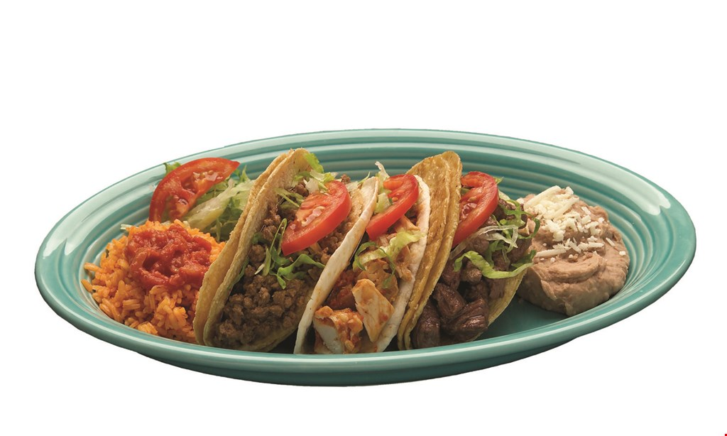 Product image for Pepe's Mexican Restaurants family meal deal $19.99 feeds a family of 4 - carry-out only. Includes 10 tacos, 1 side of rice, 1 side of beans, chips and a regular salsa. Choose from beef, chicken, pork or pasta