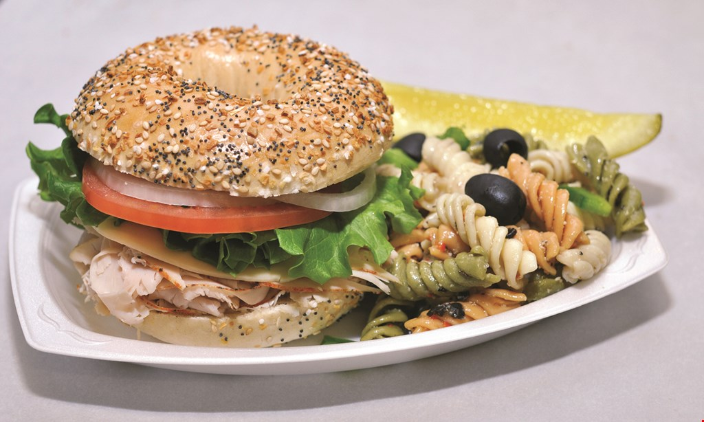 Product image for The Bagel Factory 1/2 off panini sandwich.