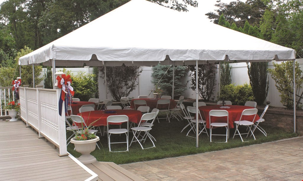 """Product image for Top Shelf Tent Rental Only $375 20'x20' White Frame Tent (4) 60"""" Round Tables • 1 Large Banquet Table 32 Chairs • 1 Set of Bulb Tent Lighting."""