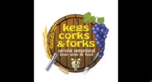 Kegs Corks & Forks logo