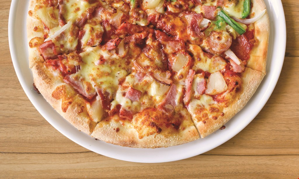 """Product image for Saraphino's Italian Restaurant & Pizzeria PIZZA & WING SPECIAL $20.95 16"""" thin crust large pizza with 3 toppings & 8 wings extra toppings $2.25 each carry-out / delivery only."""