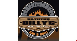 Product image for Bathtub Billy's Wood Fired Pizza Bar & Grill $19.95 +tax large 1-topping pizza & 20 boneless wings.