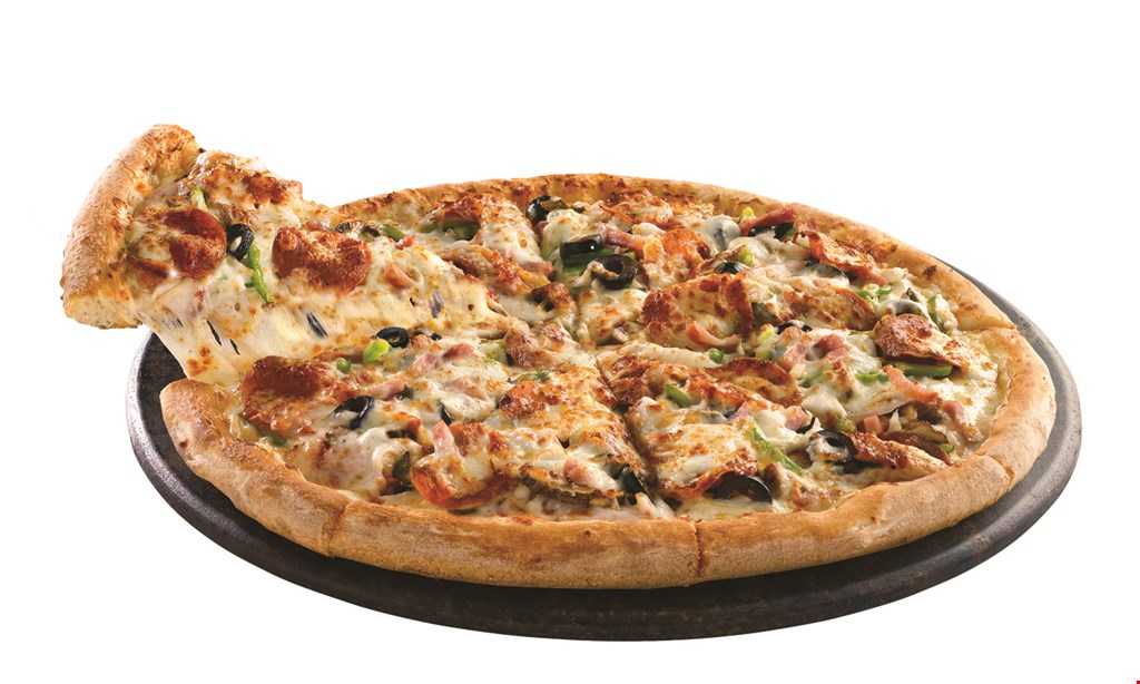 Product image for Papa John's Pizza $25.99 2 large pizzas, breadsticks & 2-liter of soda.