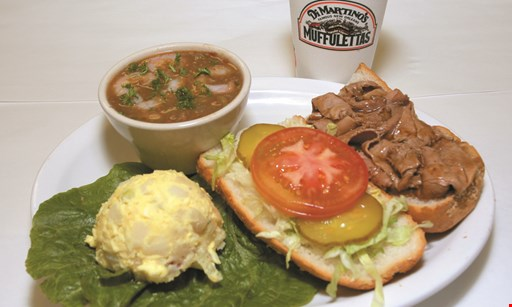 "Product image for DI MARTINO'S MUFFULETTAS $11.30  - 5"" roast beef poor boy platter with gumbo & potato salad"