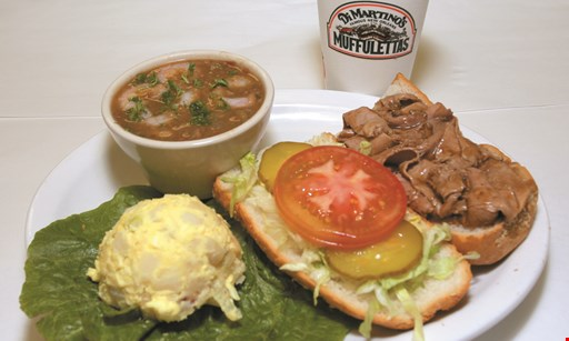 "Product image for Di Martino's Muffulettas $11.60 plus tax 5"" roast beef poor boy platter with gumbo & potato salad."