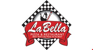 Product image for LA BELLA PIZZA & RESTAURANT Online Order Only FREE garlic braids OR FREE side baked ziti