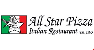 Product image for ALL STAR PIZZA $17.99 Large pizza with 1 topping & 6 garlic knots.