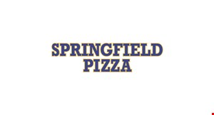 Product image for Springfield Pizza $19.99 + tax 1 Lg Pizza (Toppings Extra) 10 Wings (BBQ, Mild, or Hot) 2 orders of French Fries, 1 2-Liter Soda.