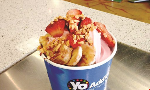 Product image for Yo Addiction $1 OFF Yo Shake, Waffle Bowl or Yo To Go. $1 OFF any purchase of $5 or more. .