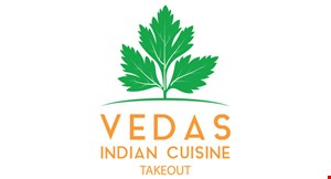 Product image for Vedas Indian Cuisine $10.00 off of $50.00 or more.