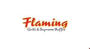 Product image for Flaming Grill & Supreme Buffet $2 Off lunch buffet (min. 2 adult lunch buffets) must purchase 1 drink per buffet
