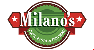 Product image for MILANO'S Only $29.99+tax 2 Large Pizzas with 2 Toppings, 8 Buffalo Wings & 2 Liter Soda