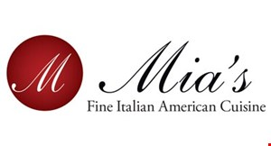 Product image for Mia's Fine Italian American Cuisine $10 OFF any purchase