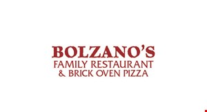 Product image for Bolzano's Family Restaurant & Brick Oven Pizza $15 For $30 Worth Of Casual Dining