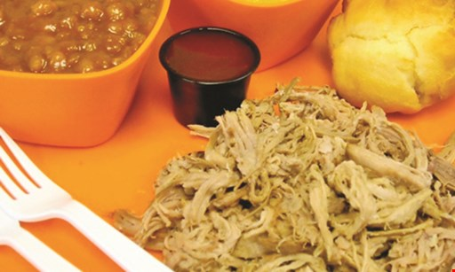 Product image for Buck's Barbeque $14.99 feeds 4 Carry-out only 1 lb. pulled pork, 1 pint of a regular side item, 1/2 gal. sweet tea, buns & sauce