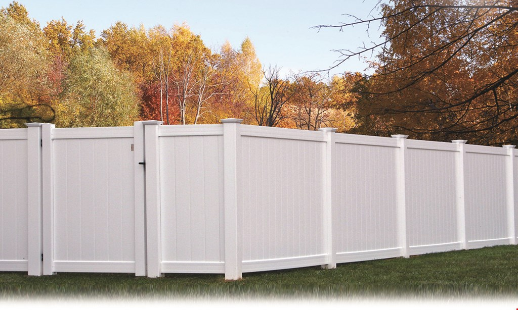 Product image for Fence Direct FOR LARGER YARD SPECIALS $3899 installation included 225 ft. White Vinyl 6 ft. High Privacy Fence (Gate Not Included).