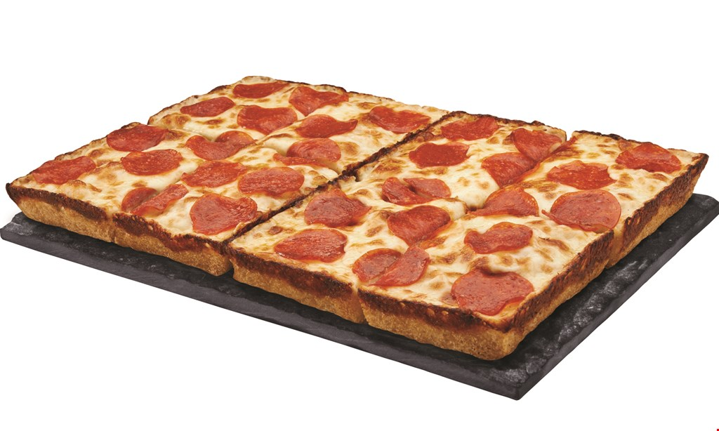 Product image for Jet's Pizza - Pittsburgh mexican pizza $13.99 online code mex: large Detroit-style pizza with pizza sauce, cheddar, premium mozzarella, chorizo*, jalapeño peppers, black olives, & tomatoes.