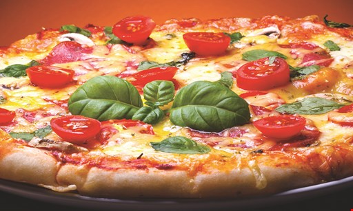 Product image for Delinda's Pizza, Wings, Calzones $1 off large or sheet cheese pizza. $.50 off medium cheese pizza.