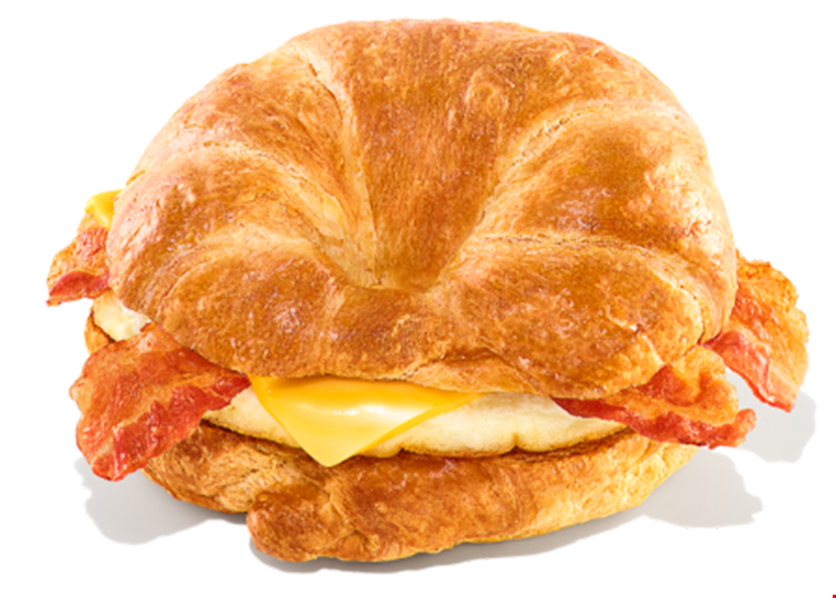 Product image for Dunkin' Donuts Only $5 for 2 bacon, egg & cheese croissants