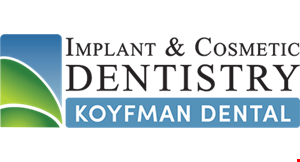 Product image for Implant & Cosmetic Dentistry Koyfman Dental $109 new patient special!