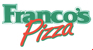 Product image for Francos Large Pizza, Antipasto salad & Breadsticks $33.99. Large 18 slice Pizza w/cheese & 1 topping, freshly made antipasto salad, 16 breadsticks w/ dripping sauce.
