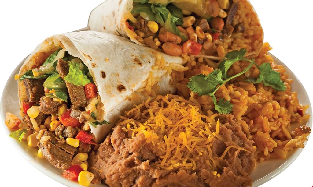Product image for Burrito Express FREEof equal or lesser value $1.99Buy 2 BurritosGet 1 Menu Item buy 1 menu item, get 1 of equal  or lesser value for $1.99 .