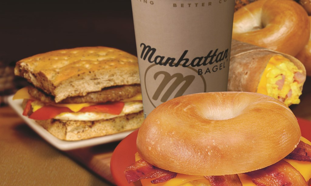 Product image for Manhattan Bagel - Wharton FREE 16 oz. cup of coffee.