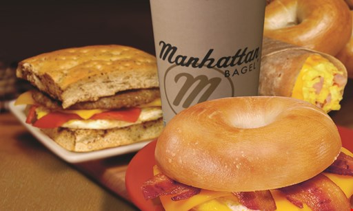 Product image for Manhattan Bagel $2.99 bagel with cream cheese & 16 oz. coffee