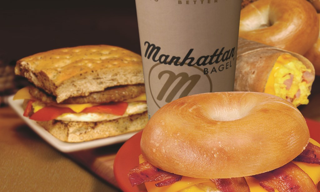 Product image for Manhattan Bagel FREE16 oz. cup of coffee.