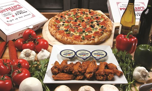 Product image for Pontillo's Pizzeria $24.99 large cheese pizza & 12 wings (regular or boneless).