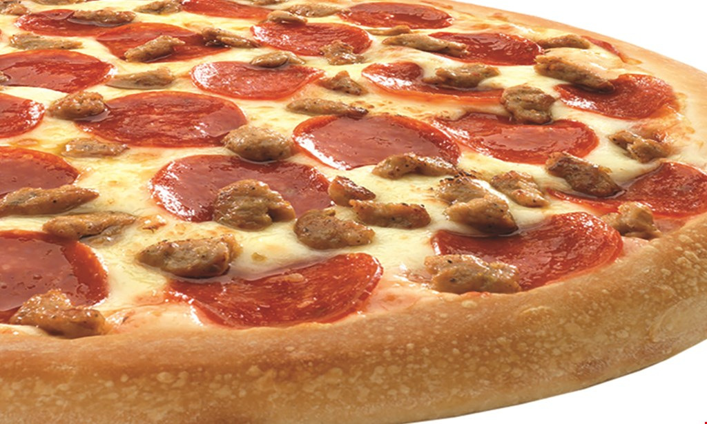 Product image for Happy's Pizza $16.99 Pizza + Bread large 1 topping pizza, stuffed cheeseBread and free 2-liter.