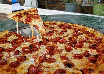 Product image for Good Guys Pizza $31.99 Large Cheese Pizza & 2 Orders of Wings