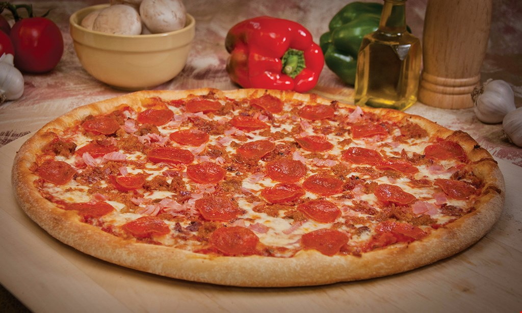 Product image for Original Italian Pizza $56.99 family pack 2 large cheese pizzas & triple order of wings.