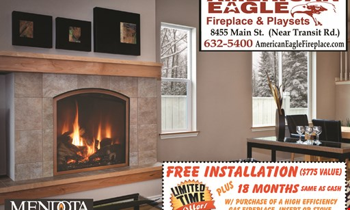 Product image for American Eagle $775 instant savings any gas fireplace, insert or stove installed.