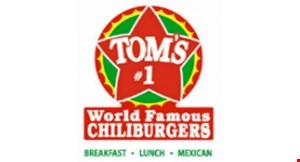 Tom's World Famous Chili Burgers logo