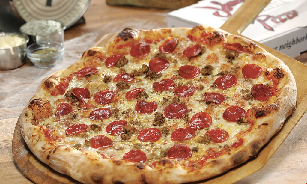 Product image for Johnny's Pizza $9.99 large 1-topping pizza dine in, carry out, delivery.