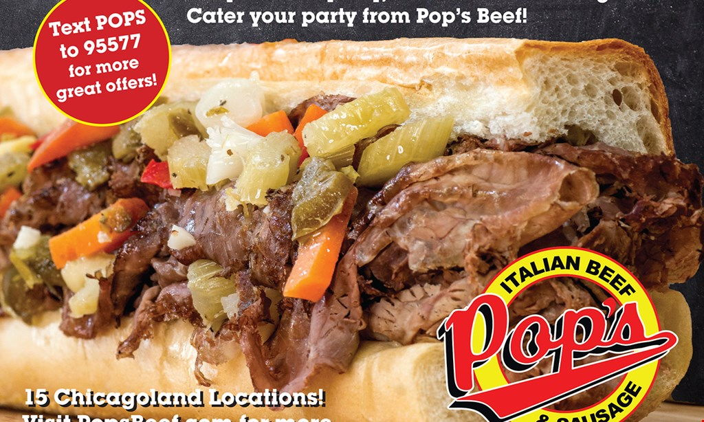 Product image for Pop's Beef $90.00 - Catering Special (feeds 18-20) • 3 lbs. beef • 3 loaves of bread • 1 pt hot peppers • 25-pc chicken • 1 qt. sweet peppers.