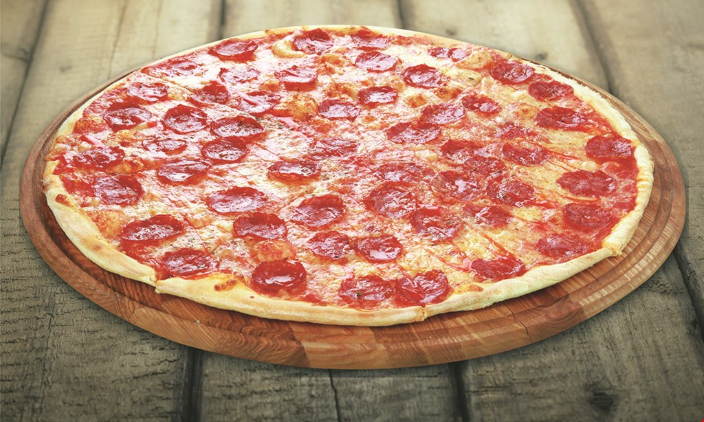 Product image for Bella Pizza $27.95 large pie, 6 buffalo wings, baked ziti & 2 liter soda