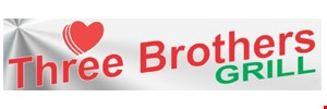 Product image for Three Brothers Grill $10 off any purchase of $50 or more.