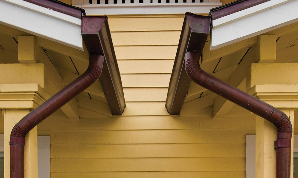 Product image for Brass City Seamless Gutters FREE gutter cleaning with purchase of complete gutter guard system OR $200 OFF any purchase of complete gutter guard system ($800 minimum).