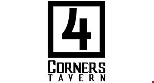 Product image for 4 Corners Tavern $5 off $25 or more OR $10 off $45 or more